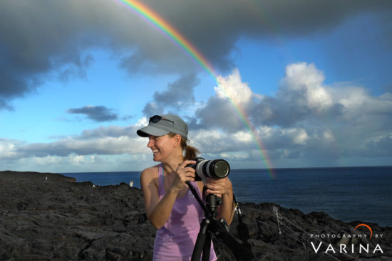 Rainbow during stormy weather in Hawaii Volcanoes National Park