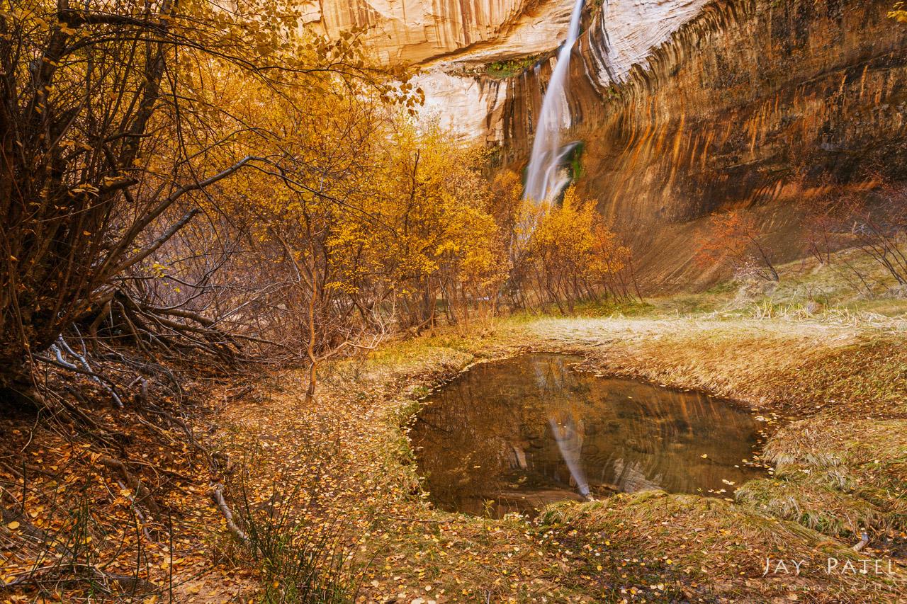Camera exposure WITH circular polarizer to minimize glare on wet surfaces, Calf Creek Falls, Utah