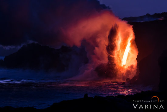 Nature photography with a telephoto lens to capture lava explosion, Big Island, Hawaii