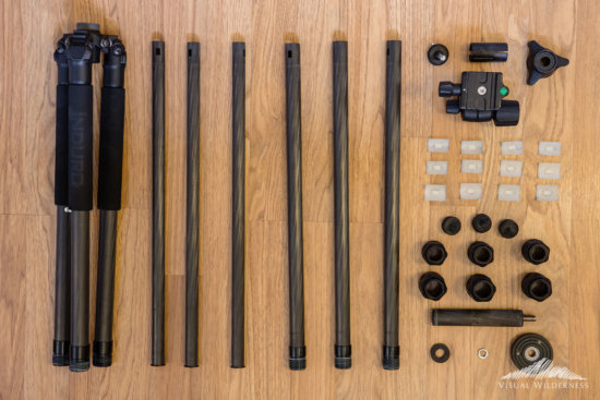 Disassembled Induro carbon fiber tripod legs for cleaning