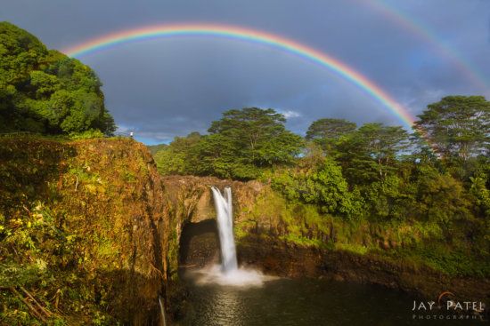 Landscape photography during a passing storm at Rainbow Falls, Hilo, Hawaii by Jay Patel