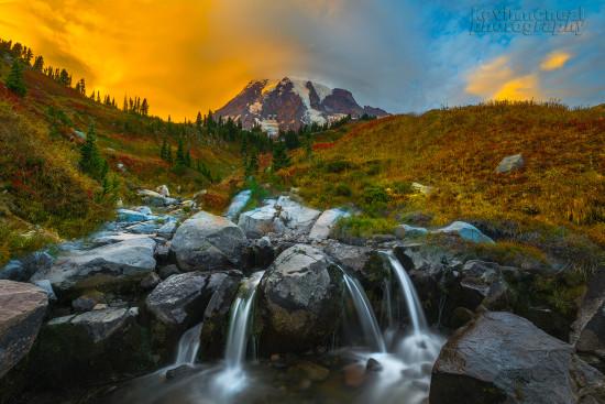 Autumn Landscape photo from Myrtle Falls Beneath Mt Rainier by Kevin McNeal