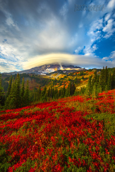 Lenticular cloud and fall foliage at Mt. Rainier by Kevin McNeal