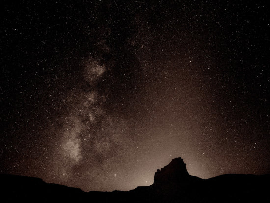 Fine art landscape photography print of night sky in sepia from Mojave National Preserve by Christine Hauber