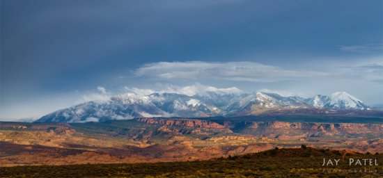 Panoramic Landscape photography of La Sal Mountains Overlook, Arches National Park, Utah by Jay Patel