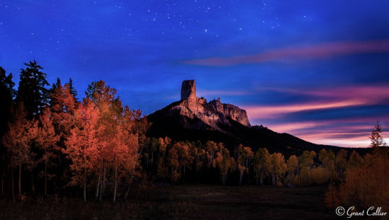 Night photography during nautical twilight at Chimney Rock, San Juan Mountains by Grant Collier