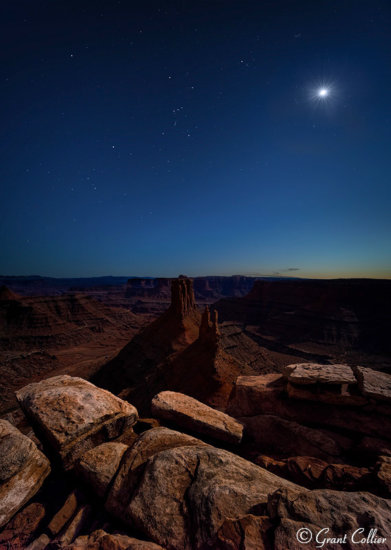 Night photography in Canyon Country at nautical twilight by Grant Collier