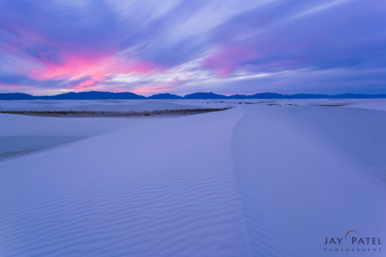 Landscape photography at sunset at White Sands National Monument, New Mexico by Jay Patel
