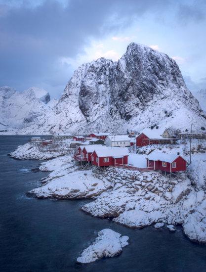 Winter scene over Hamnoy, Norway