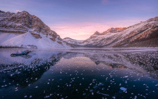 Shooting the reflection at Bow Lake
