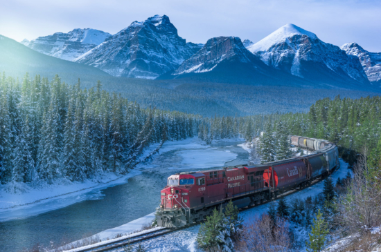 The Canadian Pacific Train along the Bow River in Banff, Alberta