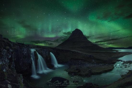 Night photography or aurora borealis at Krikjufoss, Iceland