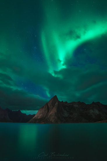Night Photography of Aurora Borealis and its reflections by Clint Burkinshaw