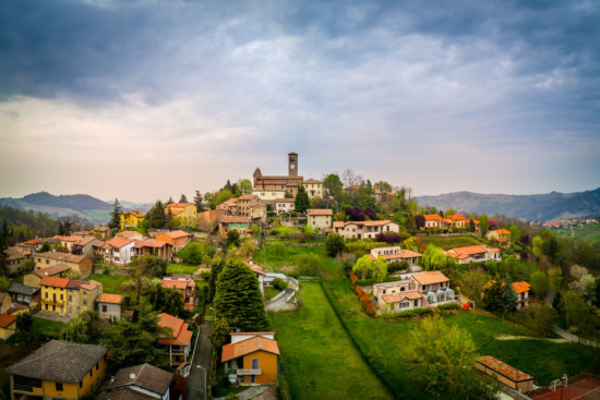 Drone Photography Image of The hilltop village of Fortunago, Lombardy, Italy