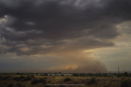 A photograph of a dust storm or Haboob photographed over Mesa, Arizona.