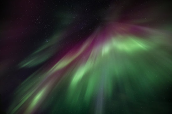 An overhead display of the aurora borealis in Iceland