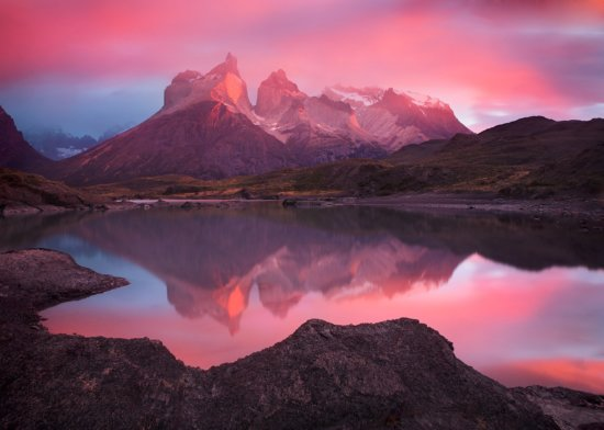 Landscape photography example with creative use of white balance at Torres del Paine National Park, Chile