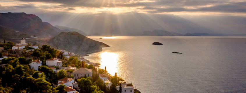 Sunset over Hydra island, Greece