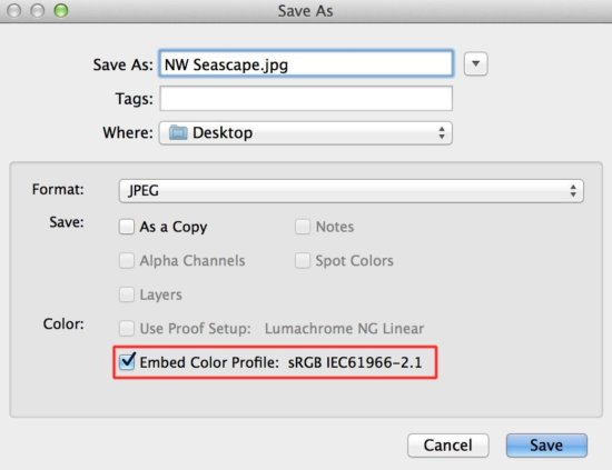 How to embed ICC Profile in Photoshop