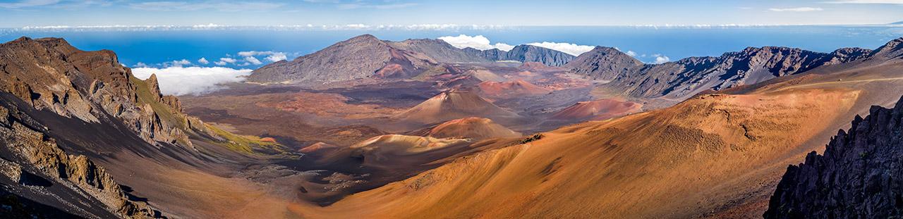 Haleakala crater panorama on top of the volcano, Maui, Hawaii.