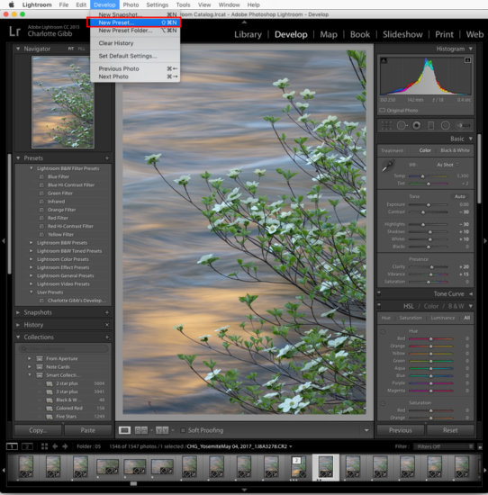 Lightroom tip about creating new presets by Charlotte Gibb