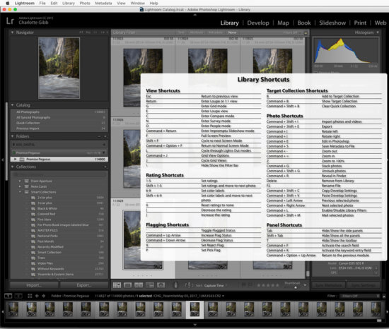 Lightroom Keyboard Shortcuts by Charlotte Gibb