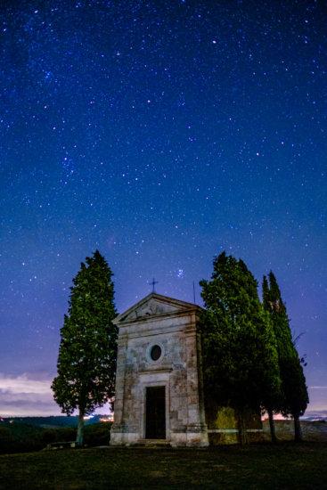 Travel Photography - Vitaleta Chapel at night, Pienza
