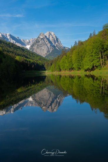 Mountain Photography Reflection in Bavarian Alps, Germany