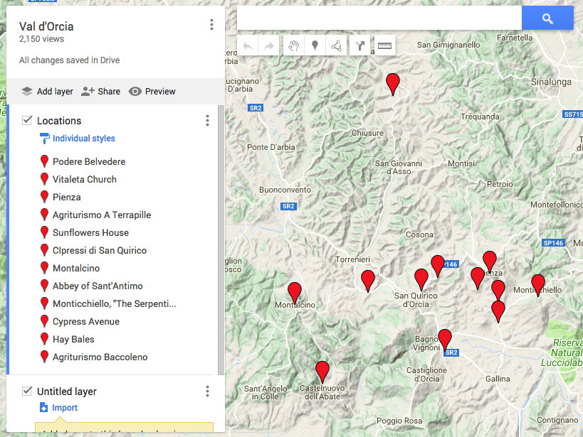 Travel Photographer Map of Val d'Orcia best photo spots by Ugo Cei