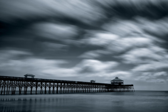 Super long exposure with 45s Shutter Speed at Folly Beach Pier by Kate Silvia