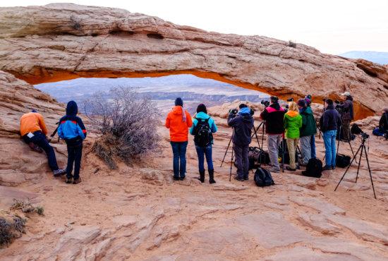 Photographers at Mesa Arch, Canyonlands NP, Utah