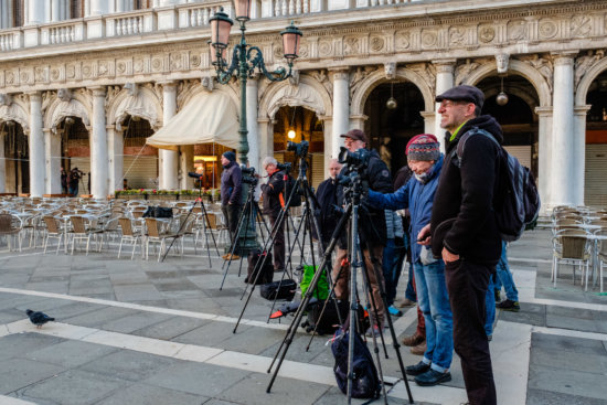 Photographers with tripods in Venice