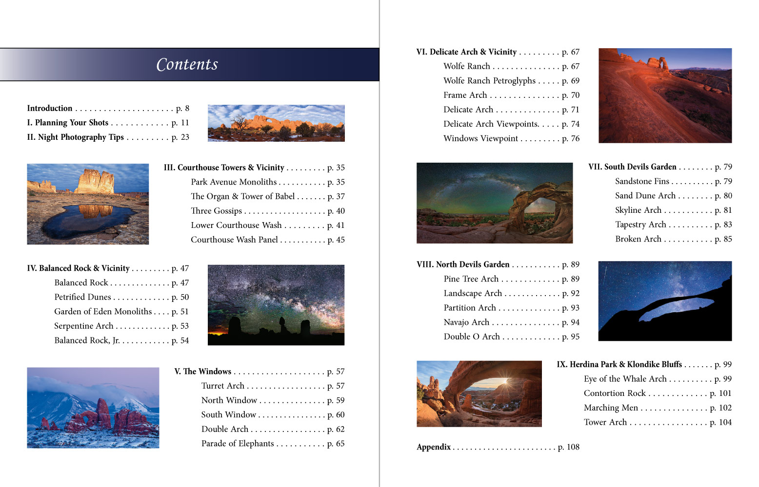 Table of Contents - Photographing Arches National Park