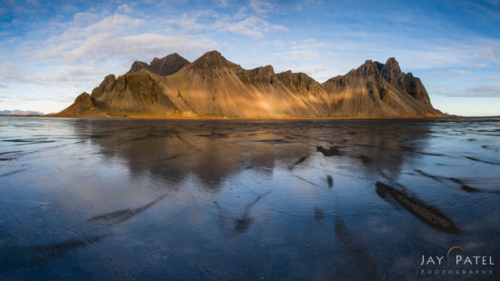 Landscape photo at Vestrahorn Iceland captured with soft GND photography filter.