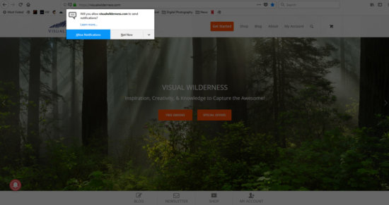 Web Push Notifications for Nature Photography Articles and Promotions on Visual Wilderness