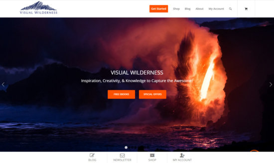 Font page of Visual Wilderness photography website by Varina Patel