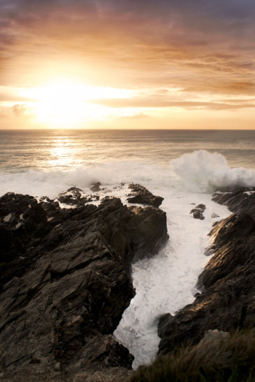 Dramatic sunset in Newquay, Cornwall, UK.