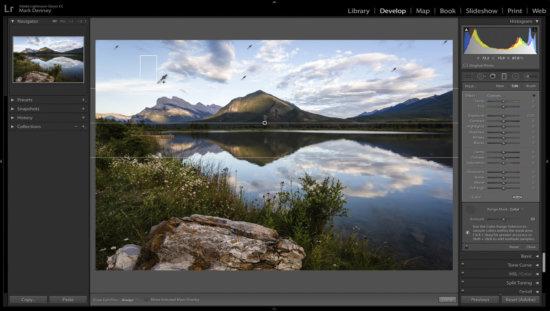 Lightroom Range Mask for color correction, Banff National Park, CA