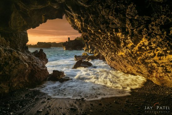 High dynamic range or HDR photography at a Lava Cave in Maui, Hawaii by Jay Patel