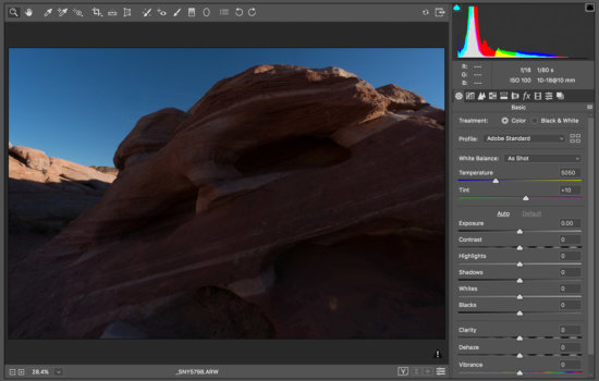 Sample Landscape Photo: Histogram in photography indicates under-exposed or clipped shadows