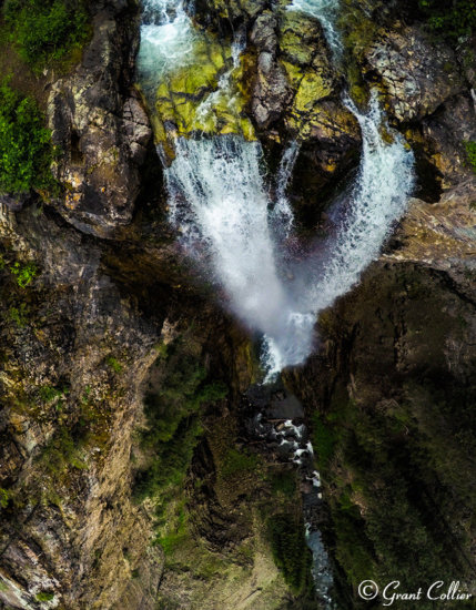 Drone Photography Example - A unique perspective of Colorado Waterfall from the air.