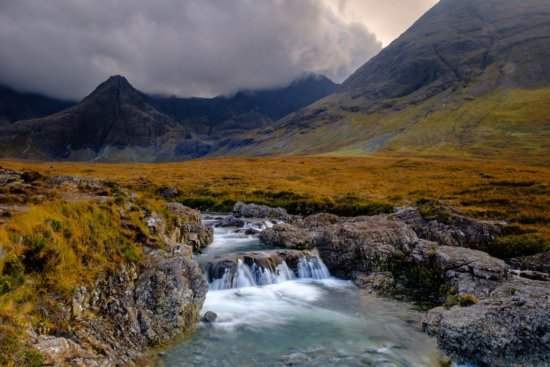 Landscape photography under overcast skies at The Fairy Pools, Isle of Skye, Scotland