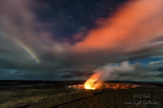 Night Photography at Halema'uma'u Crater, Volcanoes National Park, Hawaii by CJ Kale