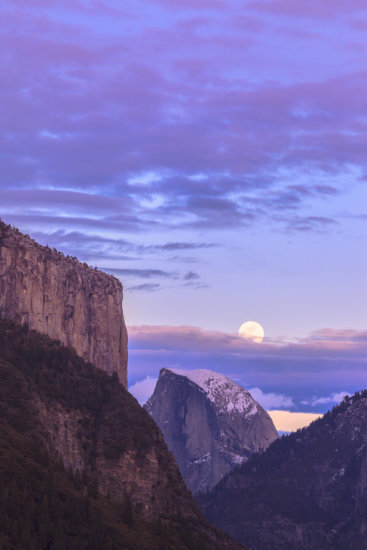 Purple Colors during Moonrise at Half Dome, Yosemite National Park, California