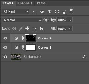 Photoshop Curves Adjustment Layer with selective masking