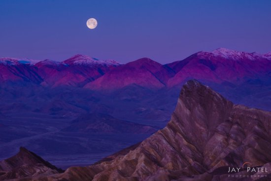 Landscape Photo with Moon & Foreground at Zabriskie Point, Death Valley National Park, Califorina by Jay Patel