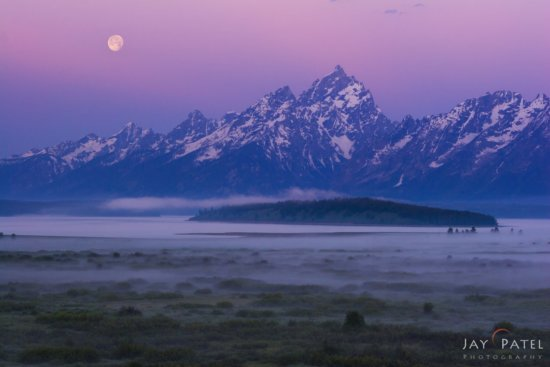 Night Photography with Moon & Foreground at Grand Tetons National Park, Wyoming by Jay Patel