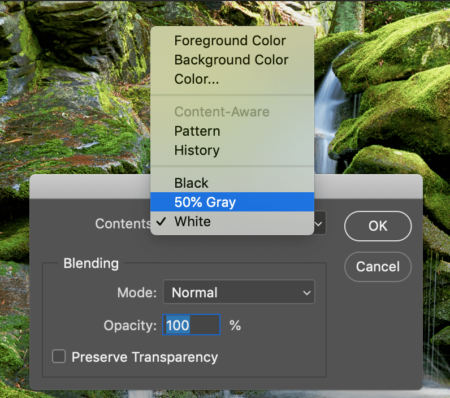 How to fill an empty Layer with 50% Gray in Photoshop