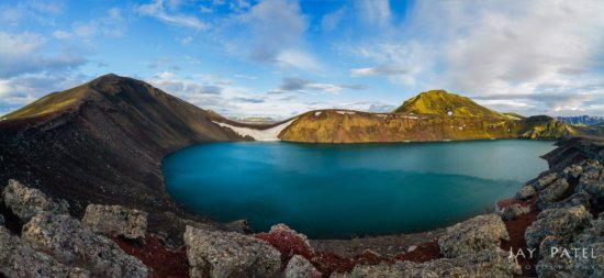 Panoramic nature photo of Volcanic crater, Iceland by Jay Patel