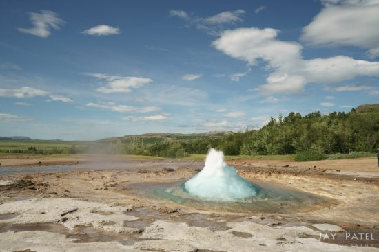 Landscape photography from Geysir, Iceland before post processing adjustment in Lightroom